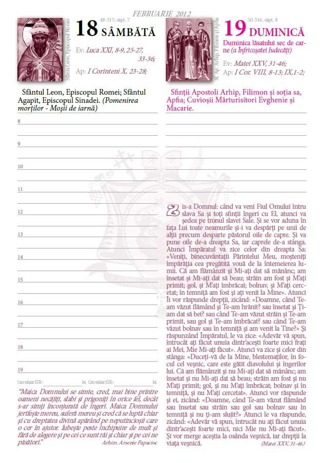Agenda Creştin Ortodoxă editată de Sf. Mănăstire Dervent